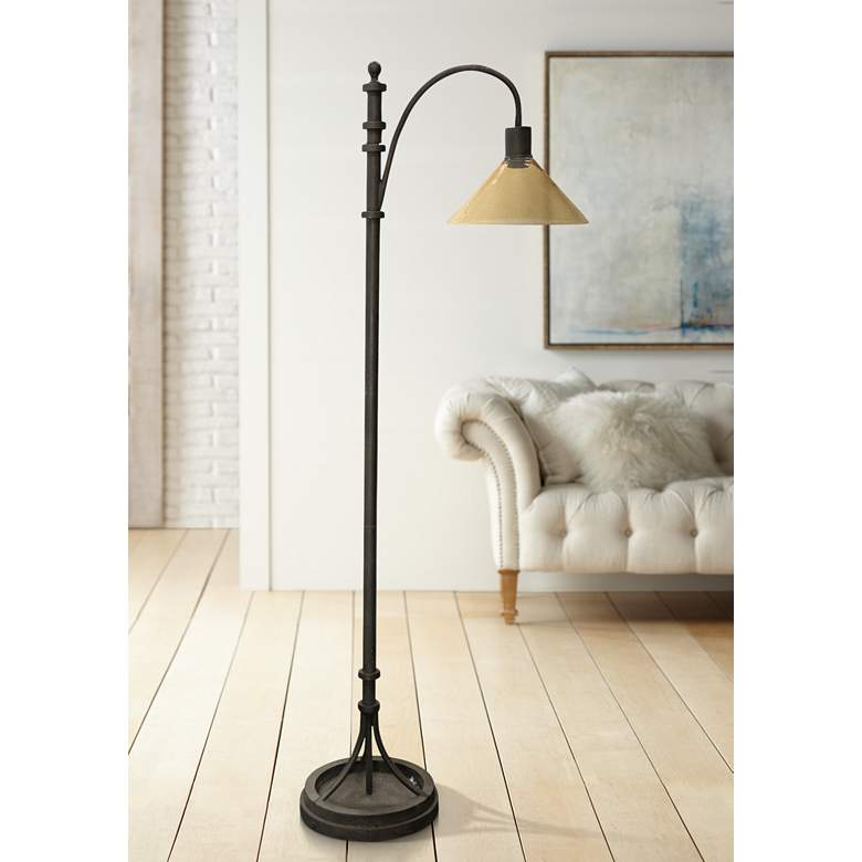 Industrial Bronze Arc Floor Lamp with Dimpled Glass
