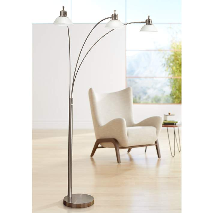 Glass 3 Light Brushed Steel Floor Arc with LED Shades Lamp W2IHEDY9