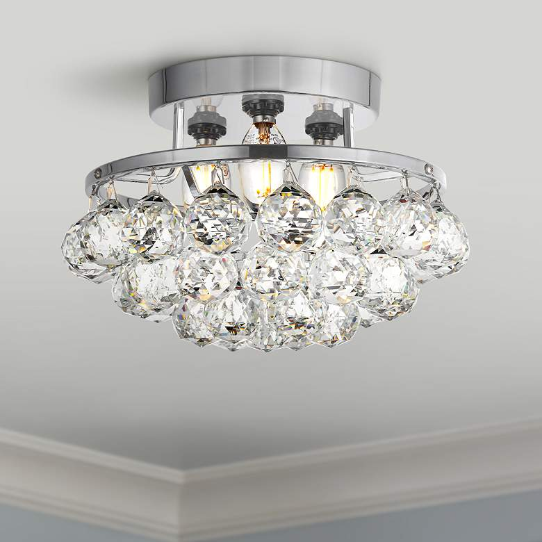 "Corona 10"" Wide Chrome and Clear Crystal Ceiling Light"