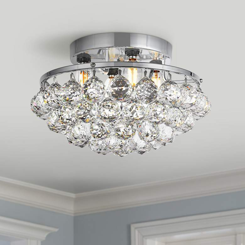 "Corona 14"" Wide Chrome and Clear Crystal Ceiling"