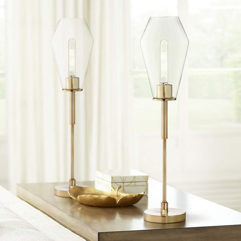 Ellis Gold Metal Uplight Console Table Lamps Set