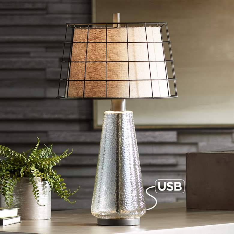 Tristan Seeded Glass Table Lamp with Cage Double Shade