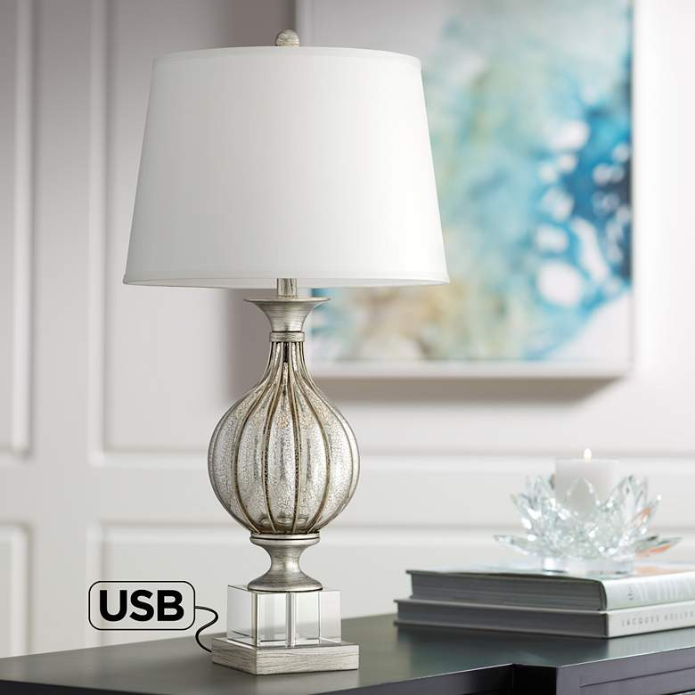 Alexandra Silver Mercure Glass Table Lamp with USB