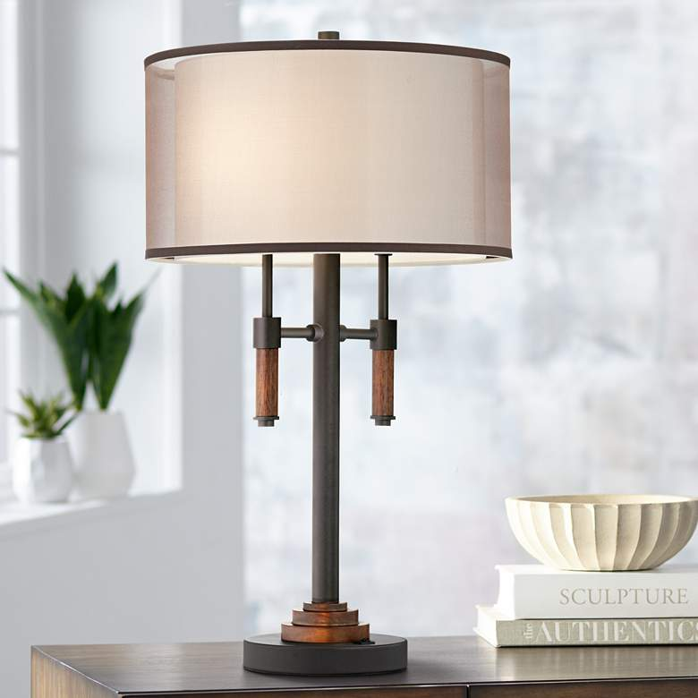 Bennington Gun Metal Double Shade Table Lamp