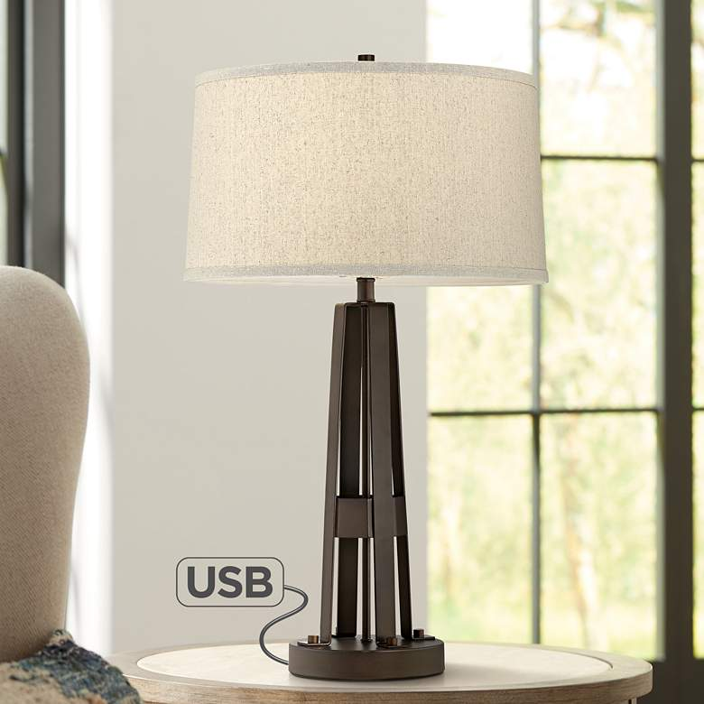 Crown Heights Bronze Metal Table Lamp with USB
