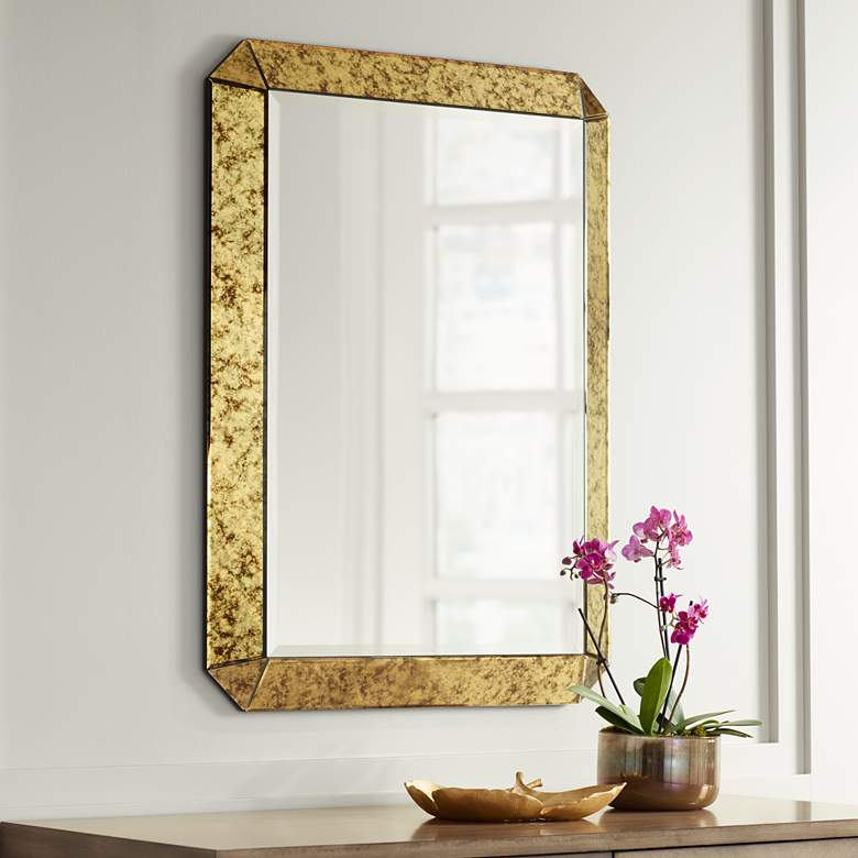 "Alena 28"" x 38""  Antique Gold Rectangular Wall Mirror"