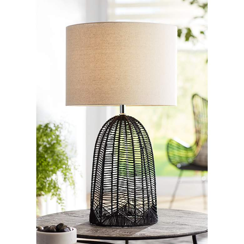 Aria Black Rope Cage Table Lamp