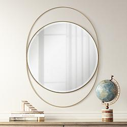 "Possini Euro Ciara Gold 27 1/2"" x 39"" Oval Wall Mirror"