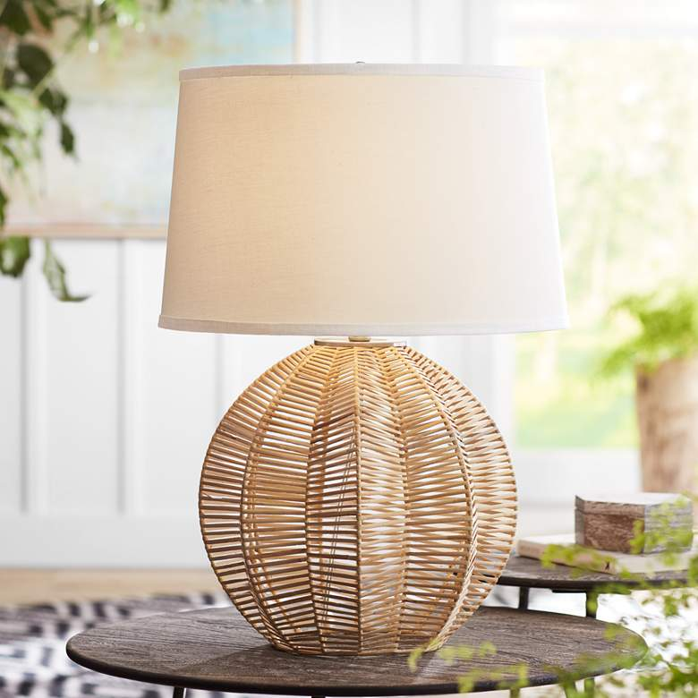 Boca Natural Rattan Ball Table Lamp
