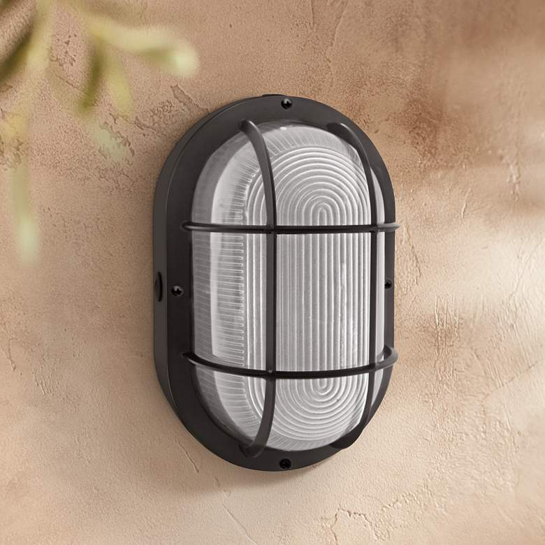 "Jessen 11 1/4"" High Black LED Bulkhead Outdoor Wall Light"