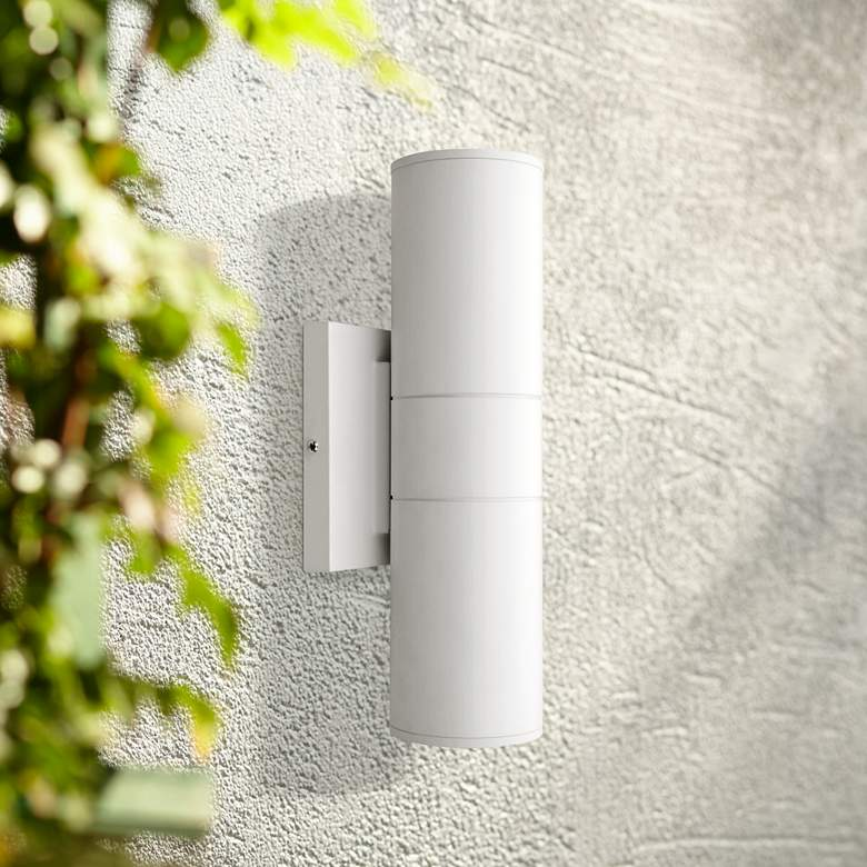 "Metro 11 3/4"" High Matte White Dual LED Outdoor Wall Light"