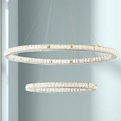 "Wainwright 48"" Wide Crystal Double-Ring Dimmable LED Pendant"