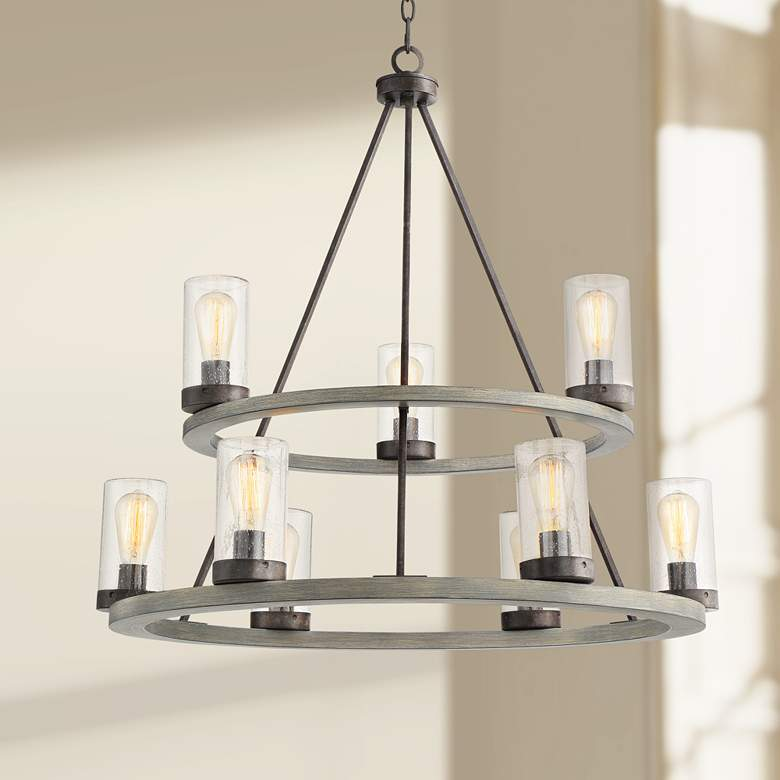 "Lillian 32"" Wide Gray Wood and Bronze 9-Light"