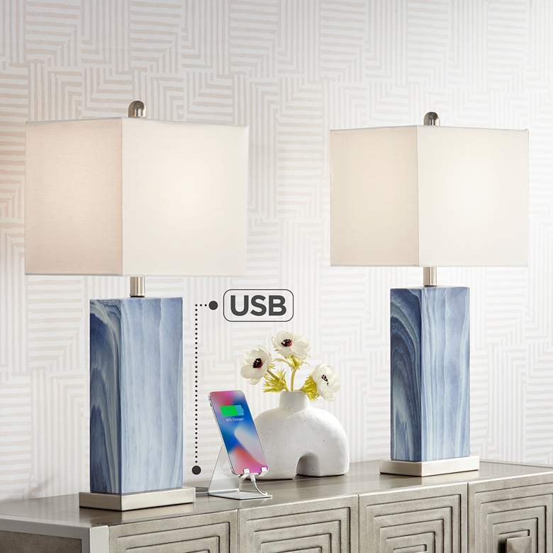 Connie Rippled Blue USB Table Lamps Set of