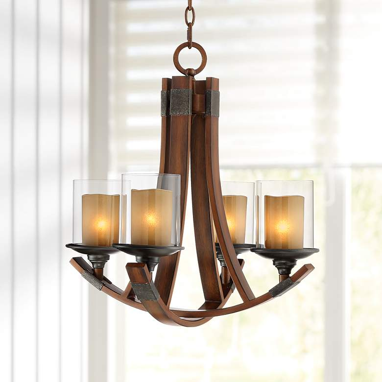 "Tafford 21"" Wide Mahogany Curving 4-Light Chandelier"