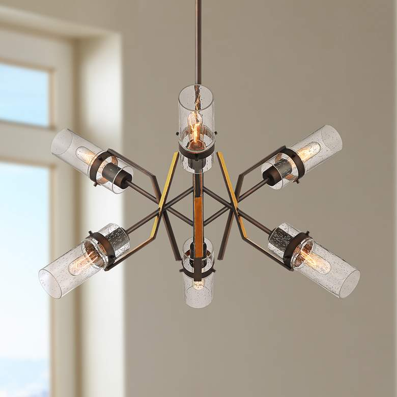 "Halley 32"" Wide Chestnut Bronze 6-Light Chandelier"