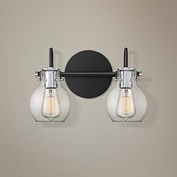"Quoizel Andrews 8 3/4"" High Earth Black 2-Light Wall Sconce"