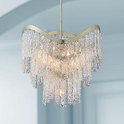 "Ursula 24 3/4"" Wide Silver Leaf and Crystal Pendant Light"