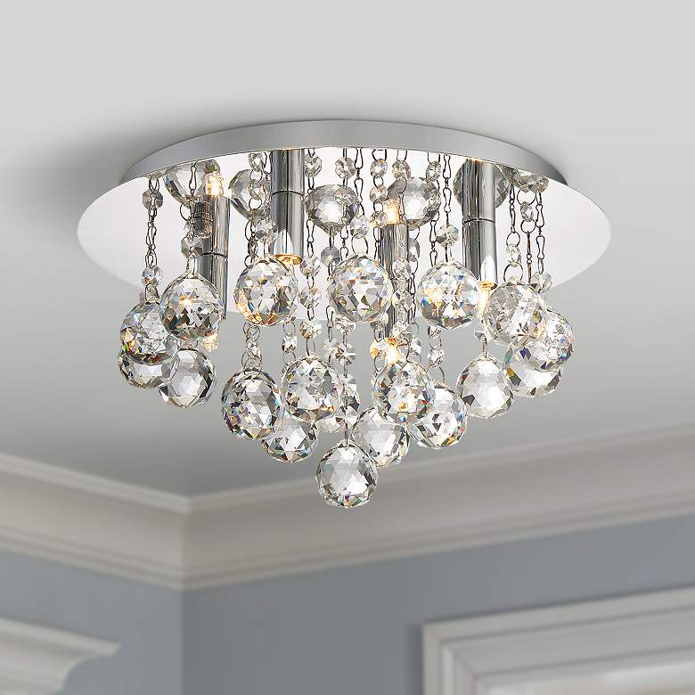 "Bordeaux 13 3/4"" Wide Polished Chrome 4-Light Ceiling"
