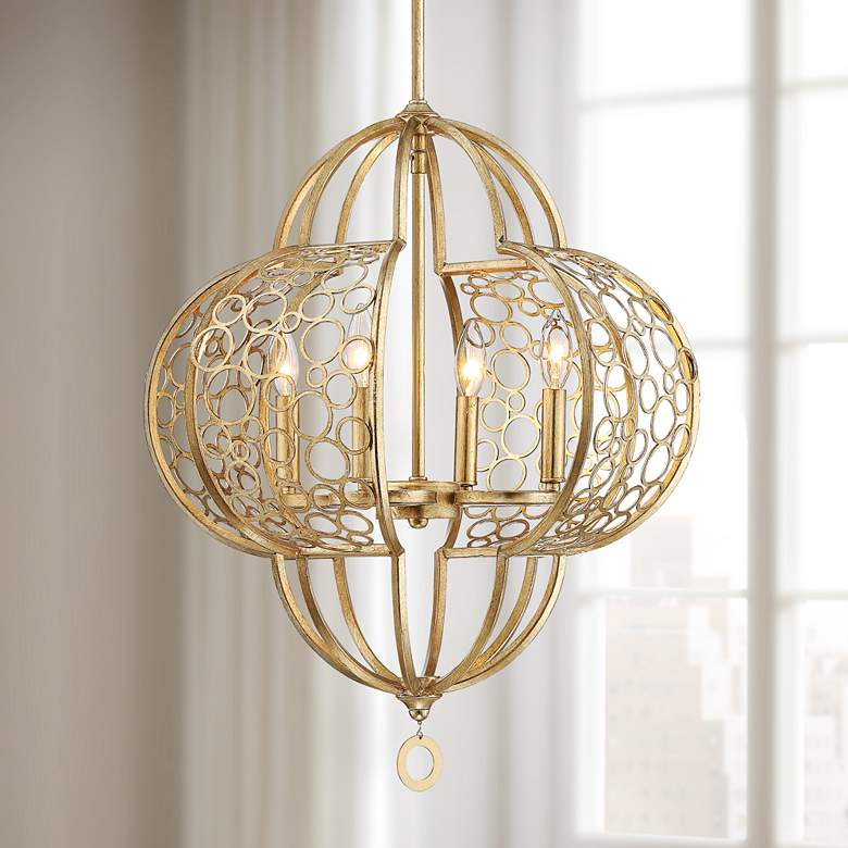"Rodeo 19 3/4"" Wide Gold-Toned Antique Silver Leaf Chandelier"