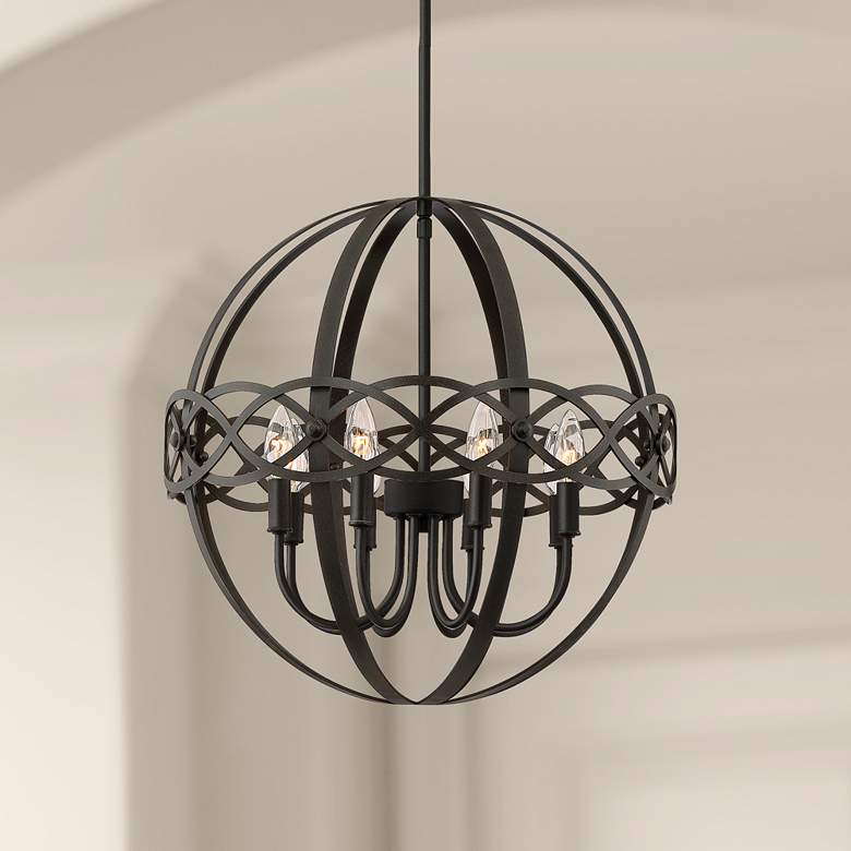 "Delana 20"" Wide Dark Brown 8-Light Orb Pendant"
