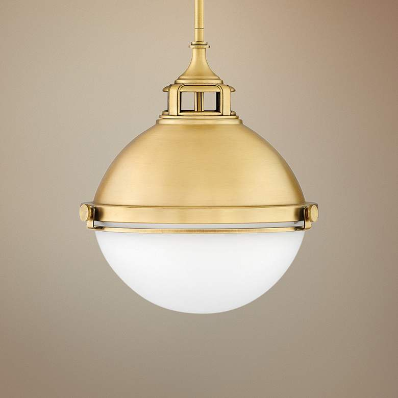 "Hinkley Fletcher 13 1/2"" Wide Satin Brass Pendant"