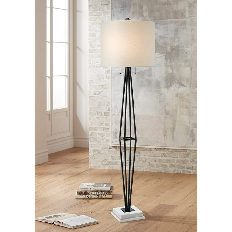 Currey and Company Colton Painted Black Floor Lamp