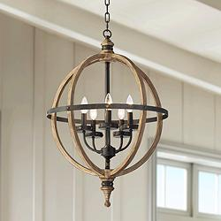 "Rotunda 20"" Wide Black 5-Light Orb Pendant Light"