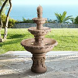 "Ibiza 45"" High 3-Tiered Sandstone Garden Fountain with Light"