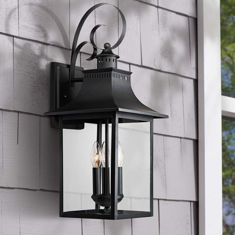 "Quoizel Chancellor 23 1/2""H Mystic Black Outdoor Wall"