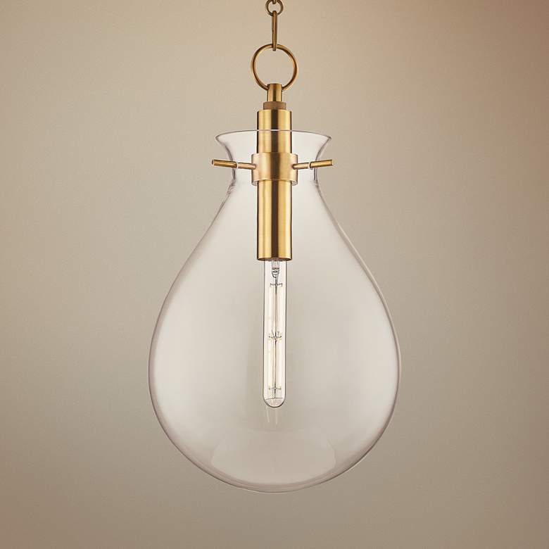 "Ivy 12 1/2"" Wide Aged Brass LED Pendant"