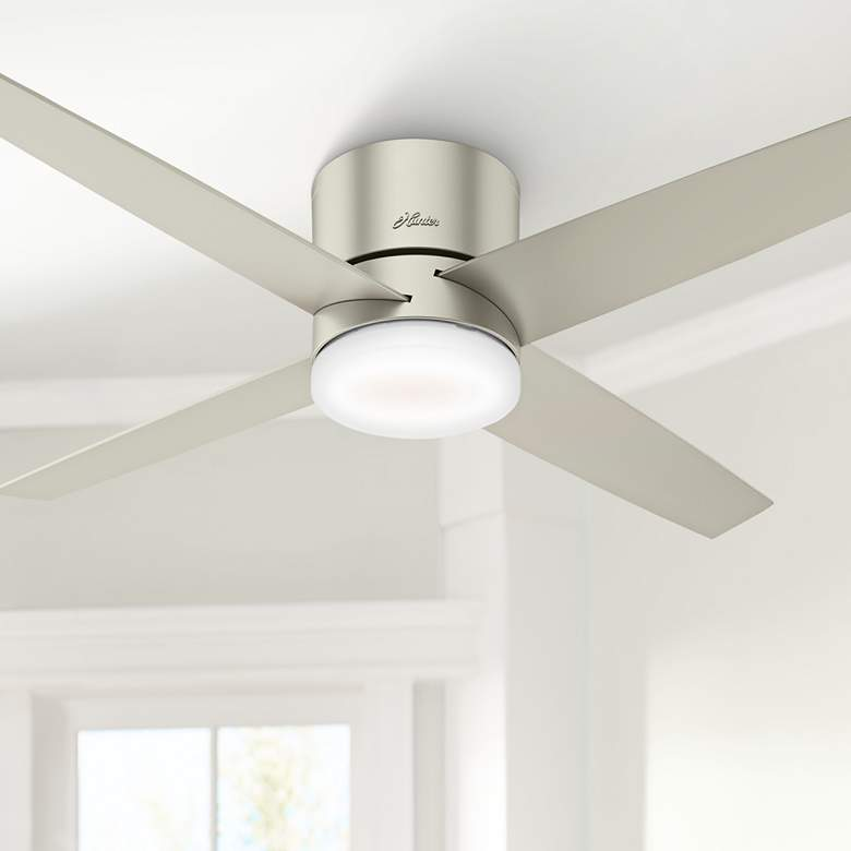 "54"" Hunter Advocate WiFi Matte Nickel LED Hugger Ceiling Fan"