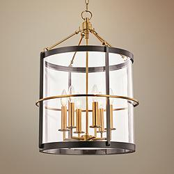 "Ren 17 1/2"" Wide Aged Brass and Old Bronze 6-Light Pendant"