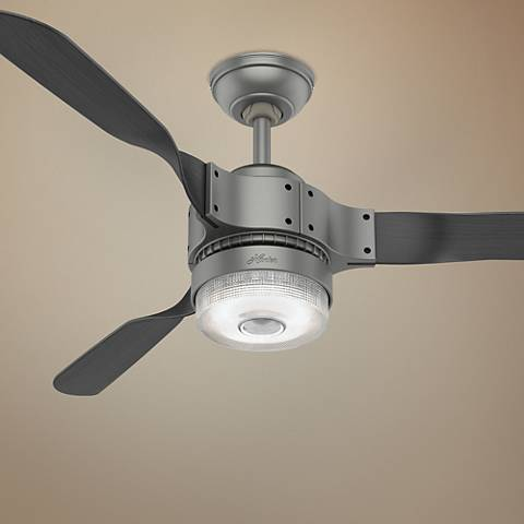 "54"" Hunter Apache Wi-Fi Matte Silver LED Ceiling Fan"