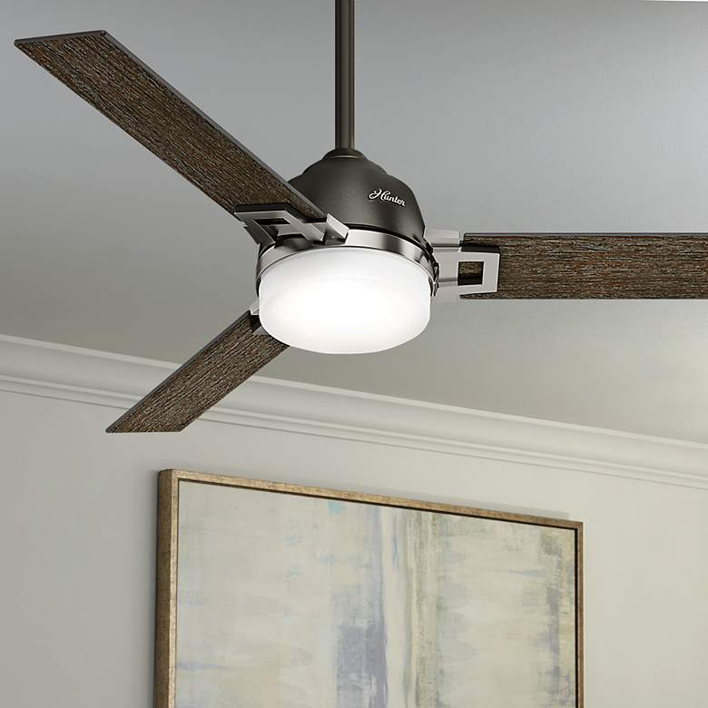 "48"" Hunter Leoni Brushed Nickel Noble Bronze LED"