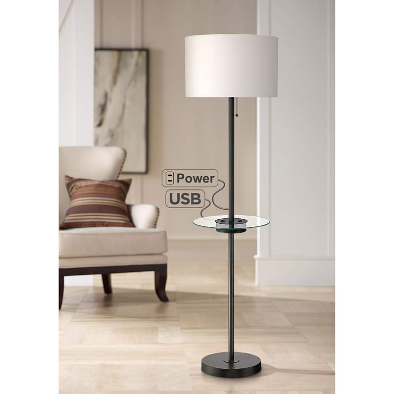 Caper Tray Table Floor Lamp with USB Port