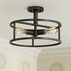 "Quoizel New Harbor 15""W Western Bronze 3-Light Ceiling Light"