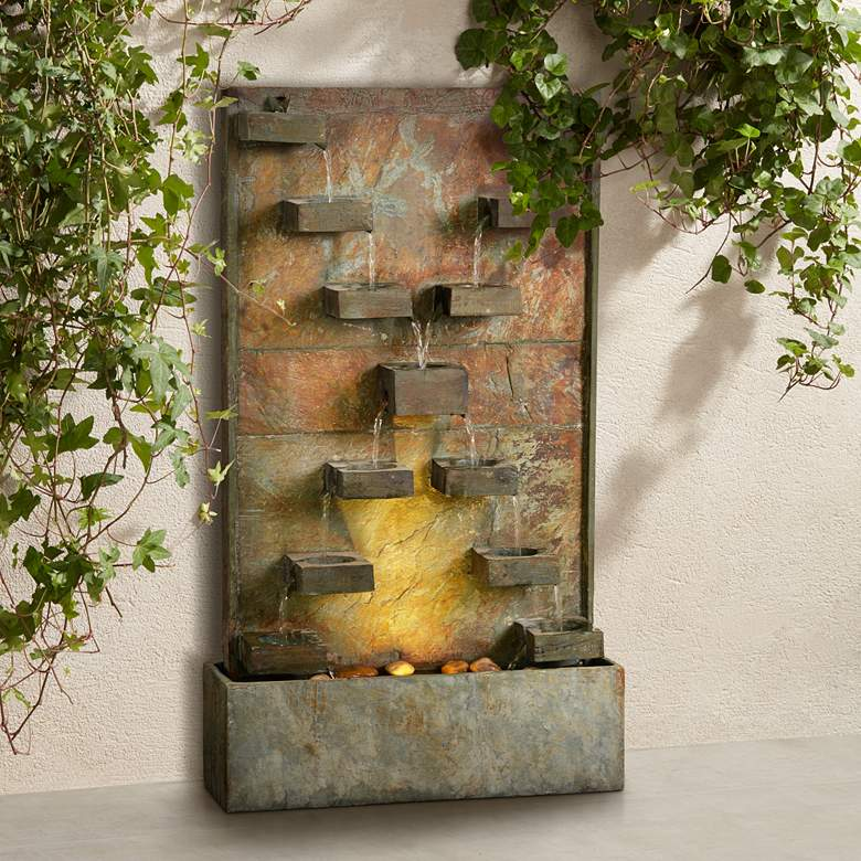 "Voyage 33"" High Natural Slate LED Outdoor Fountain"
