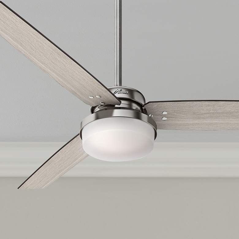 "60"" Hunter Sentinel Brushed Nickel LED Ceiling Fan"