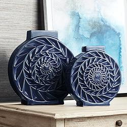 Dark Blue Circle Ceramic Vases Set of 2