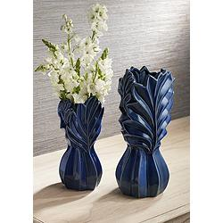 Leaf Dark Blue Modern Ceramic Jar Vases - Set of 2