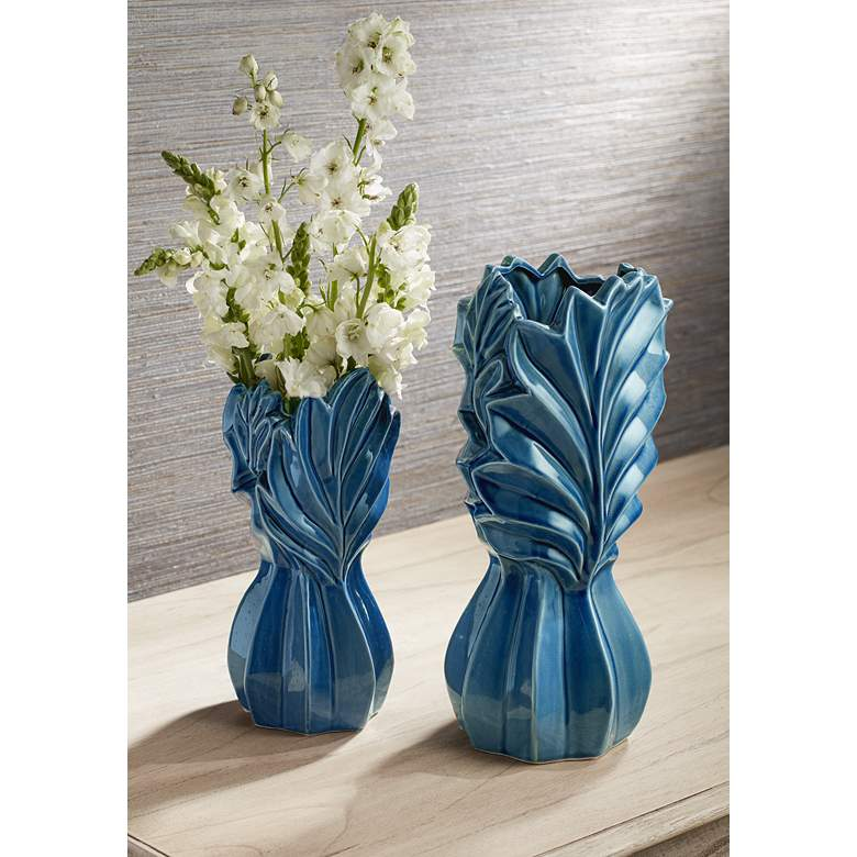 Light Blue Leaf Ceramic Jars Set of 2