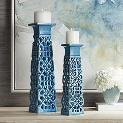 Lachlan Light Blue Ceramic Pillar Candle Holders Set of 2