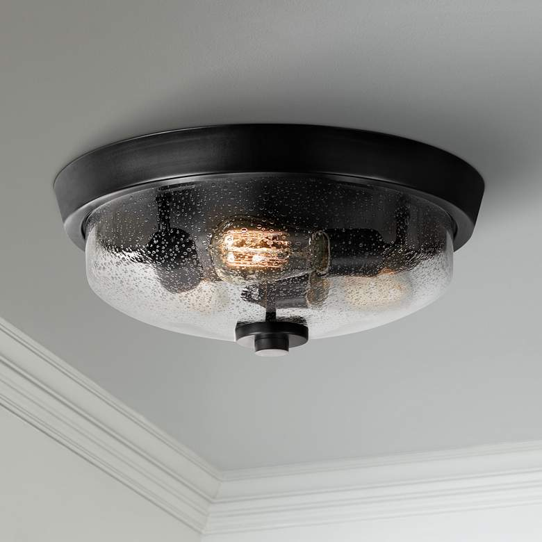 "Quoizel Radius 14 3/4""W Earth Black 3-Light Ceiling"