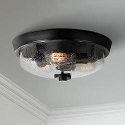 "Quoizel Radius 14 3/4""W Earth Black 3-Light Ceiling Light"