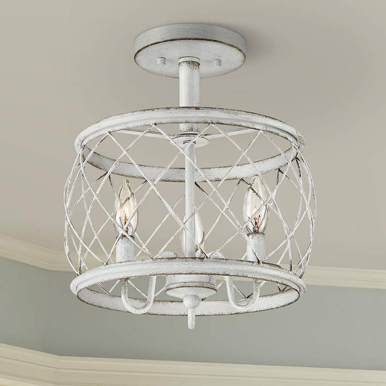 "Quoizel Dury 12 1/2""W Antique White 3-Light Ceiling"