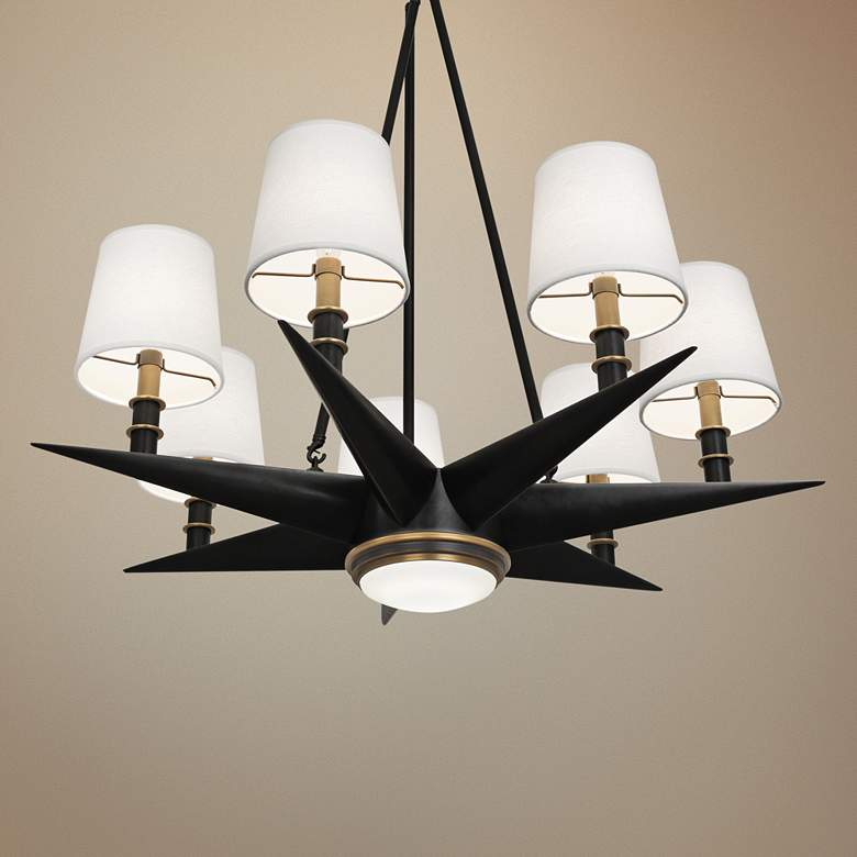 "Cosmos 35 3/4"" Wide Bronze and Brass 8-Light"