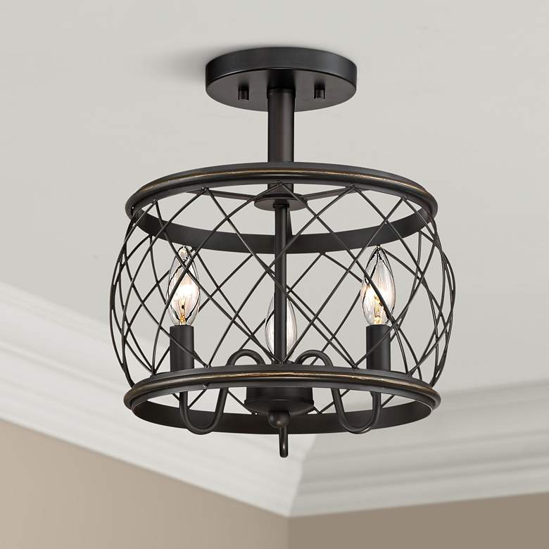 "Quoizel Dury 12 1/2""W Palladian Bronze 3-Light Ceiling"