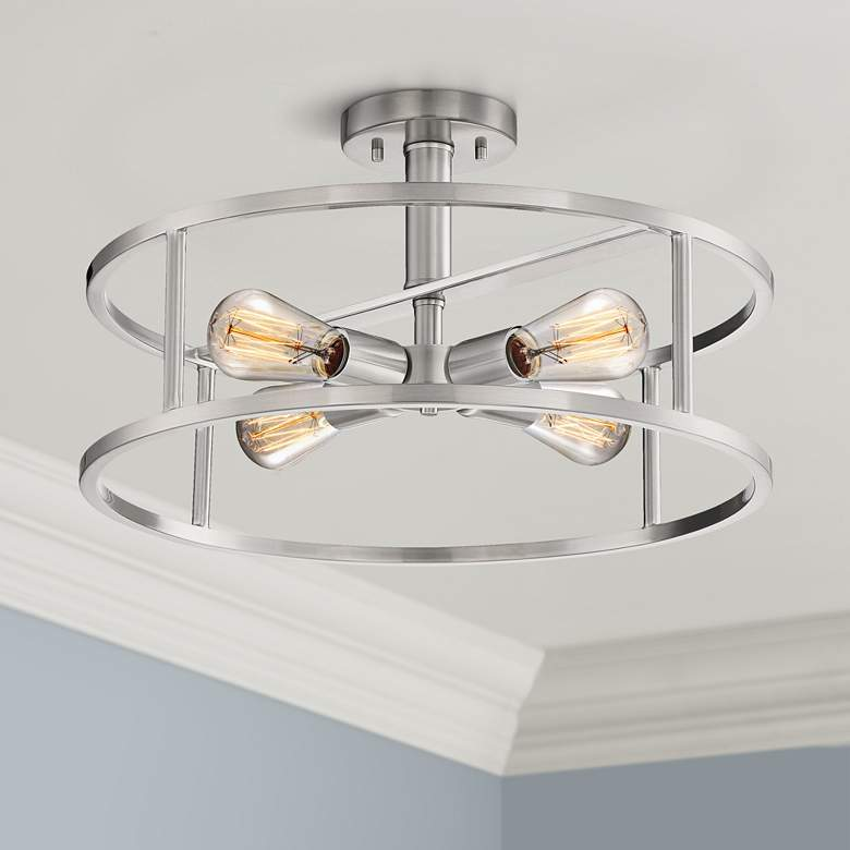 "Quoizel New Harbor 18""W Brushed Nickel 4-Light Ceiling"