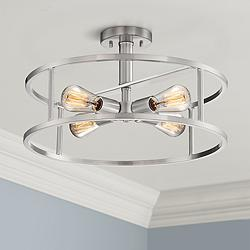 "Quoizel New Harbor 18""W Brushed Nickel 4-Light Ceiling Light"